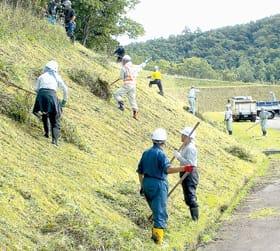 草刈り作業に取り掛かる高橋建設の社員たち