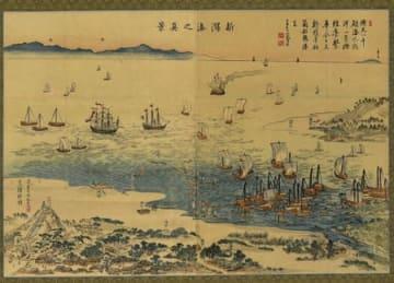 プーチン大統領に贈呈された木版画「新潟湊之真景」(縦50.8センチ、幅73.2センチ)=新潟市提供