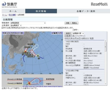 台風15号の経路図