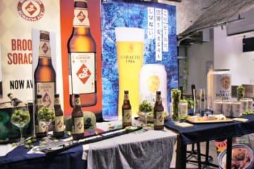 会場に設けられた両社のビールとホップ「ソラチエース」。