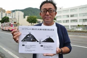 札幌もいわ山ロープウェイ運休で戸惑う観光客のために作成した夜景観光の案内図と、作成した古田盟人さん