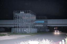 救助隊員が転落した宝塚市消防訓練場の訓練塔=8日午後、宝塚市安倉北1