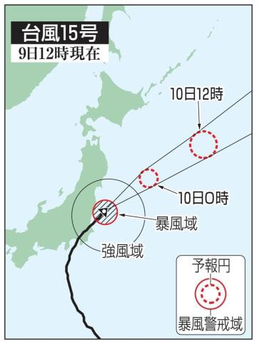 台風15号の予想進路(9日12時現在)