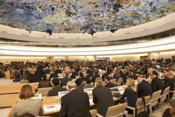 9日、ジュネーブで始まった国連人権理事会の通常会期(共同)