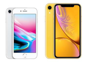 iPhone 8(左)、iPhone XR(右)