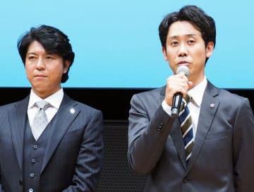 連続ドラマ「ノーサイド・ゲーム」に出演している大泉洋さん(右)と上川隆也さん