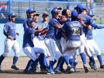 初の日本選手権出場を決め、喜びを爆発させるシティライト岡山の選手たち=東広島アクアスタジアム
