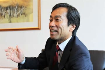Masayuki Shimizu, CEO of Resona Merchant Bank Asia Ltd., speaks in an interview with NNA in Singapore on Sept. 5.
