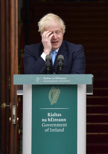ジョンソン英首相=9日、アイルランド・ダブリン(ゲッティ=共同)