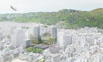 再整備計画案で示されたグリーンフロントエリア。六甲山からの緑や相楽園、兵庫県公館の緑とともに緑あふれる兵庫グリーンテラス(画像提供:兵庫県)