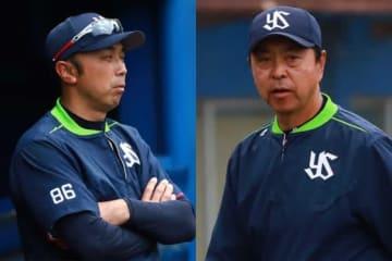 ヤクルト・宮本ヘッドコーチ(左)、小川監督【写真:荒川祐史】