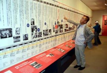 12メートルに及ぶ年表「カープ栄光の軌跡」を鑑賞する筆者