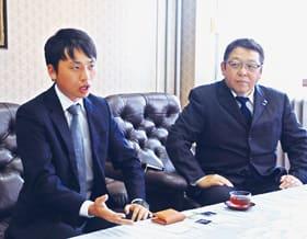 キメラで研修している経産省の松野さん(左)と藤井社長