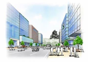 「まちなか再生プロジェクト」でイメージする熊本市の中心市街地(くまもと都市戦略会議提供)