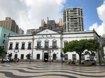 マカオの世界遺産・市政署ビル(資料)-本紙撮影