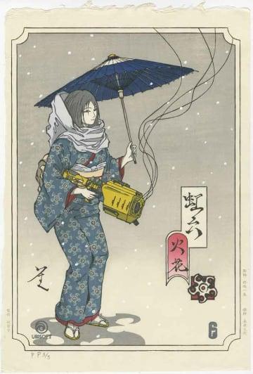 竹笹堂が制作したゲームキャラクターの京版画