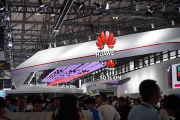 '5G is ON' at Huawei's massive booth at MWC Shanghai on June 26, 2019. (Image credit: TechNode/Jiayi Shi)