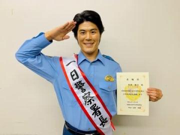 北海道・札幌方面中央警察署の一日警察署長を務めた板橋駿谷さん=NHK提供