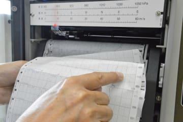 台風15号で、瞬間最大風速54メートルを観測した県水産技術センター船舶課の記録=三浦市晴海町