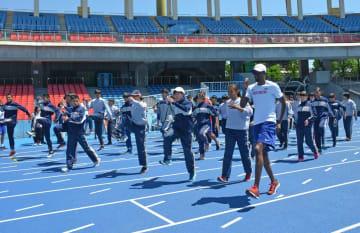 東京五輪、パラリンピックで英国代表が使用する川崎市等々力陸上競技場。5月には代表チームと市内の高校生の交流事業も行われた