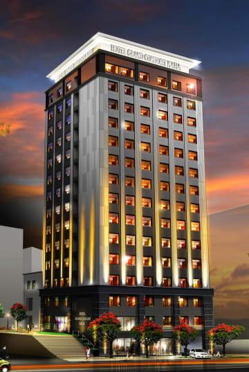 キャムコが建設する新ホテル「キャムコ県庁前ホテル(仮称)」の外観のイメージ図=(同社提供)