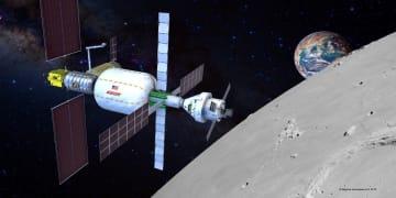 丸みを帯びた円筒形の「B330」(真ん中の部分)が接続した月周回ステーション「ゲートウエー」の想像図(ビゲローエアロスペース提供・共同)