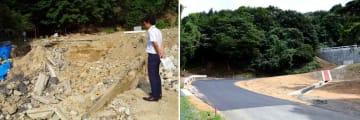 昨年の西日本豪雨によって崩落した町道池ケ成線(左、2018年7月25日、京都府与謝野町温江)、工事を終えた「よさの大江山登山マラソン」の縦走コースとなる町道池ケ成線