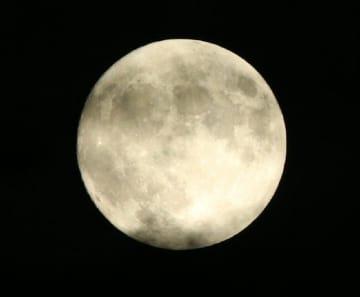 雲の切れ間から姿を現した中秋の名月=13日午後7時40分ごろ、大分市の大分城址公園