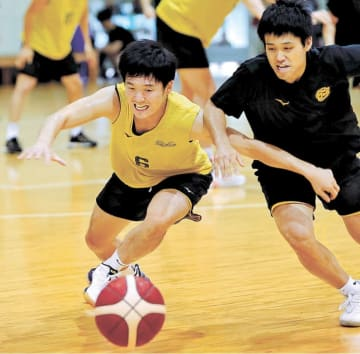 ルーズボールに飛び込む新号(左)=11日、仙台市青葉区の仙台大明仙バスケ・ラボ