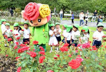 色鮮やかに花が咲き、園内を彩っている=村山市・東沢バラ公園