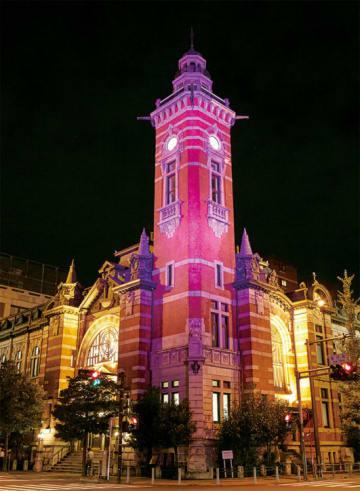 乳がん検診啓発イベント「ピンクリボンかながわ」名所がピンク一色にライトアップ@中区
