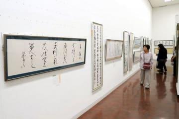 漢字や仮名の力作が並ぶ県展書道後期の会場=県天神山文化プラザ
