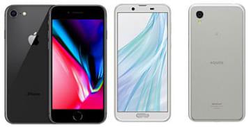 iPhone 8(左)、AQUOS sense2(右)