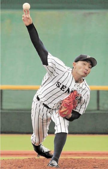 仙台大-宮教大 7回1失点の好投で2勝目を挙げた仙台大の稲毛田