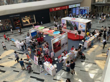 JNTOが中国・珠海市で開催した訪日旅行プロモーションイベント会場の様子=2019年9月14日、華發商都にて本紙撮影