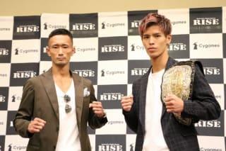 予想を覆し日本人対決となった61kg級トーナメント決勝に臨む梅野(左)と白鳥(右)