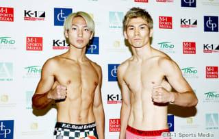計量をパスした王者西京(左)とレオナ