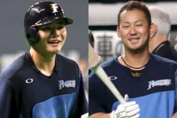日本ハム・清宮幸太郎(左)、中田翔【写真:石川加奈子】