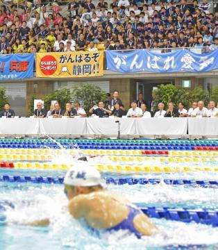 観客席からは県勢の選手に大きな声援が送られた=山新スイミングアリーナ、吉田雅宏撮影