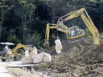 秩父市で豚コレラの感染拡大防止のために殺処分された豚の埋却作業=15日(県提供)