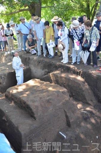 上野国分寺の発掘現場で県教委職員から説明を受ける来場者