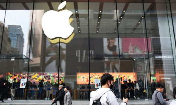 The outside of an Apple store in Shanghai on March 26, 2019. (Image credit: TechNode/Shi Jiayi)