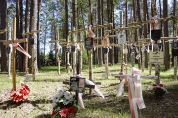 第2次大戦中にソ連に処刑されたポーランド将校らが埋葬された現場に立つ十字架=5月、ロシア西部トベリ州メドノエ(共同)