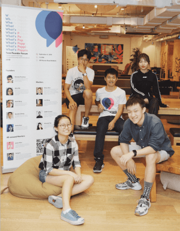 Five speakers from the teenage founder forum. Top row from left: John Yang, Nicholas Penaloza, Stella Chen; bottom row: Qinyi Ma and Brandon Zhang (Image credit: What's Poppin)