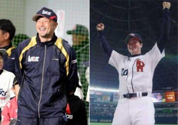 (左)オフに開くプロ野球県人会の野球教室で笑顔を見せる寺原隼人投手=2018年12月28日、都城市(右)プロ初勝利を挙げ、ファンの声援に応える寺原投手=2002年4月28日、福岡市