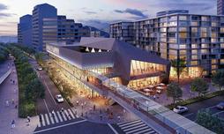 西神中央駅前に整備される文化・芸術ホールやマンションのイメージ(神戸市提供)