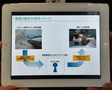画像AI解析の運用イメージが映されたタブレット