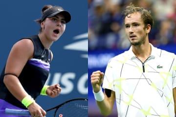 (左)2019年「全米オープン」でのアンドレスクと、(右)2019年「全米オープン」でのメドベージェフ