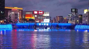 中洲彩る青のイルミ 10月6日まで、那珂川の橋