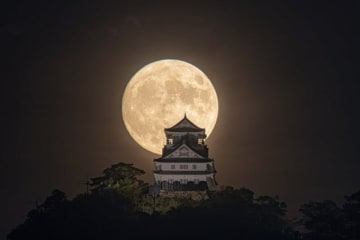 中秋の名月と岐阜城(jigurohiroさん提供)